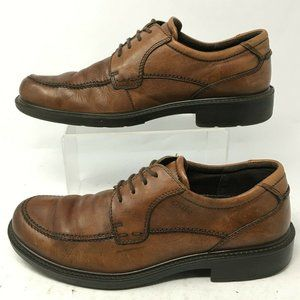 ECCO Mens 41 Oxford Dress Shoes Brown Leather Moc